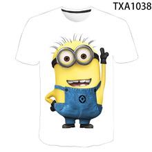 2020 ukraść księżyc miniony T Shirt mężczyźni kobiety dzieci lato z krótkim rękawem mały żółty człowiek 3D koszulka z nadrukiem chłopiec dziewczyna dzieci Tee tanie tanio O-neck Conventional Suknem COTTON Octan Na co dzień Drukuj Despicable Me T-shirt XXS XS S M L XL XXL XXXL 4XL Spring summer autumn