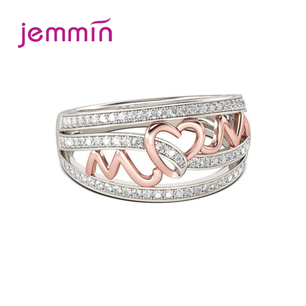 New Arrival 925 Sterling Silver Fashion Statement Rings For Women Wedding Engagement Romantic Style Heart Shape CZ Crystal