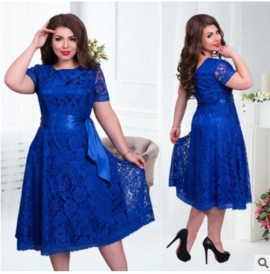 2019 Europe And America New Style <font><b>AliExpress</b></font> Hot Selling Large Size Short Sleeve Lace Lace-up <font><b>Dress</b></font> image