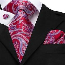 Designer Tie For Men Red Silk Fashion Paisley Pattern Jacquard Formal Business Wedding Party Hanky Cufflink Necktie Suit