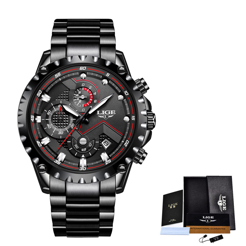 LIGE New Men Watches Top Luxury Brand Fashion Sport Waterproof Chronograph Male Stainless Steel Wristwatch Men Relogio Masculino