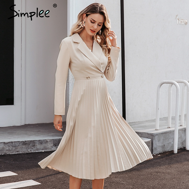 Image 3 - Simplee Elegant pleated women office dress Solid breasted ladies  blazer dress Autumn winter long sleeve chic female party dressDresses