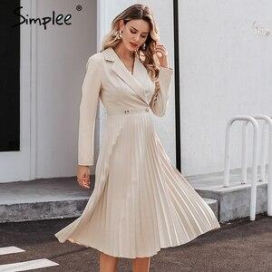 Image 3 - Simplee Kẻ Sọc Sang Trọng Lịch Lãm Nữ Đầm Công Sở Chắc Chắn Ngực Nữ Áo Đầm Thu Đông Tay Dài Sang Trọng Nữ Đầm Dự Tiệc