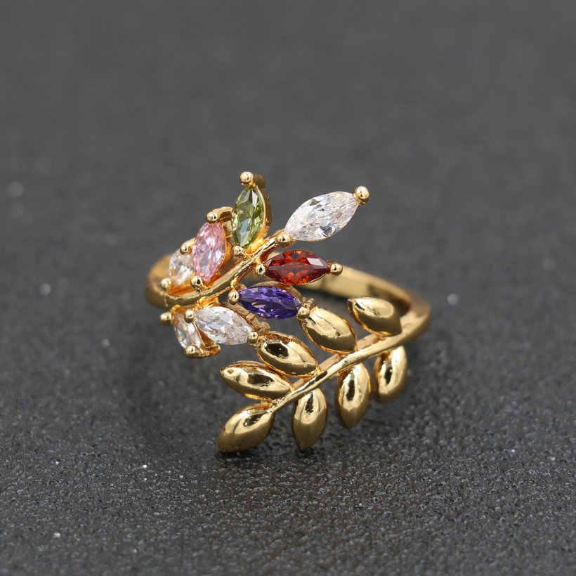 Elegant คริสตัล Zircon Leaf แหวนสำหรับสตรี Eternity แหวนสำหรับหญิงเครื่องประดับ Boho เครื่องประดับของขวัญ