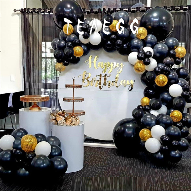 190pcs Adult 30th Happy Birthday Party Decorations Balloon Supplies Black Gold Confetti Transparent Balloons Background Decor Ballons Accessories Aliexpress