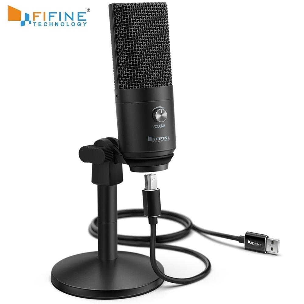 Microphone USB FIFINE pour Mac/ pc Windows, micro Vocal pour multi-usages, optimisé pour l'enregistrement, voix off, pour YouTube Skype-K670B