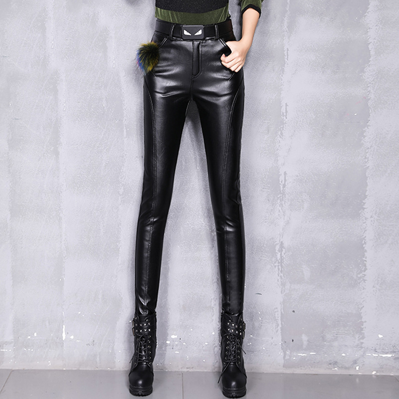 #0526 Autumn Winter Faux Leather Pants Women Black High Waist Skinny PU Leather Pants With Belt Slim Pencil Leather Trousers