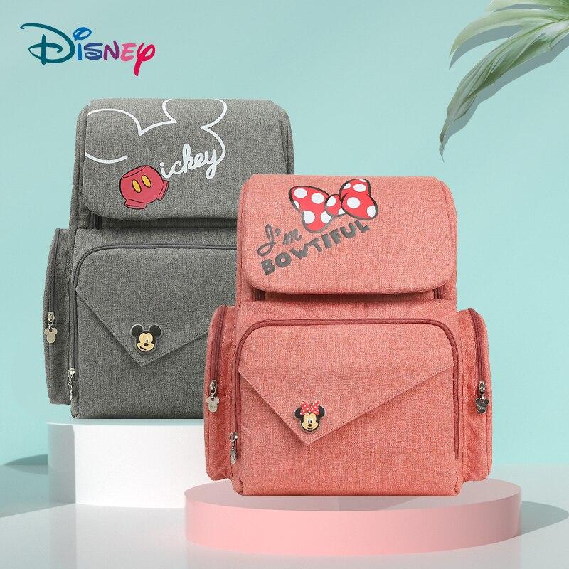 Sac à couches Disney avec sac momie usb sac mickey mouse fermeture éclair sac maternel et enfant multifonctionnel sac à dos de voyage wetbag