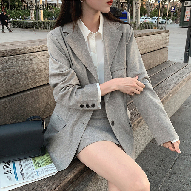 Mozuleva 2020 Retro Solid Blazer Set Single-breasted Jacket & Pencil Skirt 2 Pieces Skirt Suit Female Office Ladies Blazer Suit 2