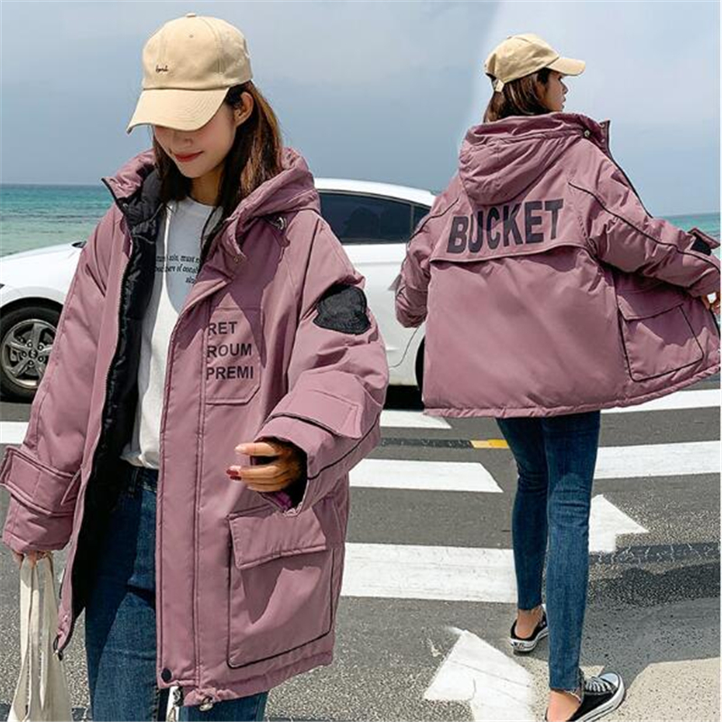 Winter Women   Parkas   2019 Fashion Print Letter Loose Down Cotton Jacket Hooded   Parkas   Thicken Cotton Padded Winter Coat Q792