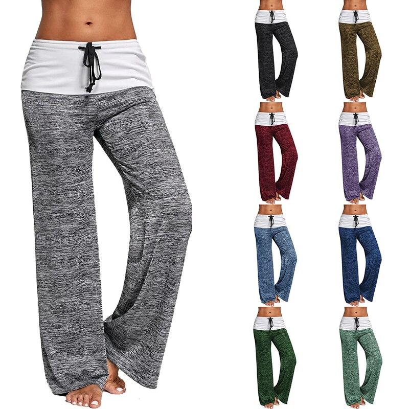 Women Loose Pants Casual Solid Drawstring Wide Leg Pants Female Plus Size Fashion Long Trousers Sweatpants Pajama