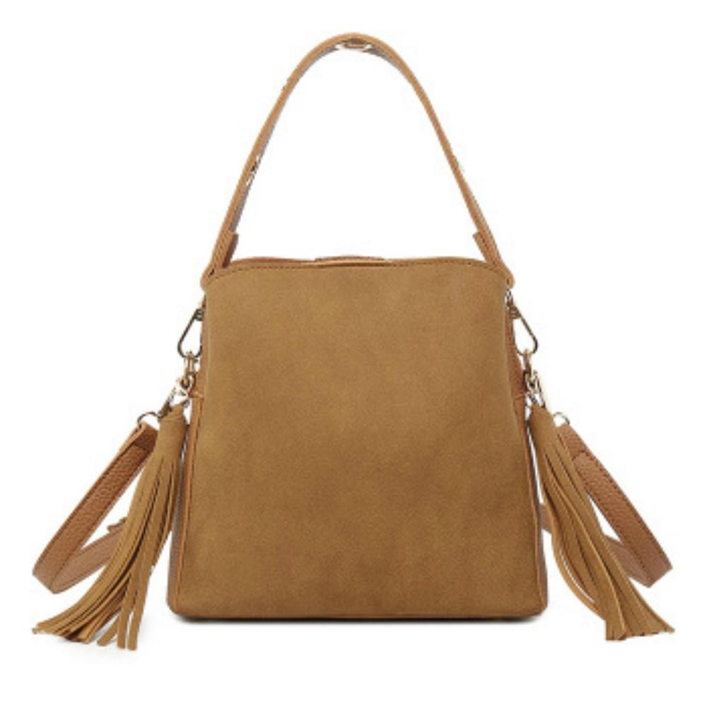 Retro Scrub Leather Women Bucket Bag Vintage Quality Female Shoulder Bag With Tassel Simple Ladies' Messenger Crossbody Bag Sac