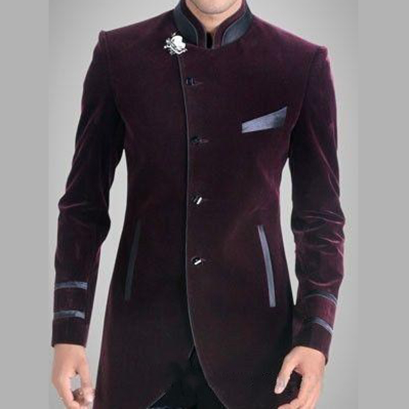 Handsome Burgundy Velvet Groom Tuxedos Groomsmen Wedding Prom Suits Custom Made Men's Prom Wear Suits Sets (Jacket+Pants)