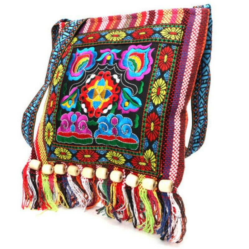 Hmong Vintage Ethnic Shoulder Bag Embroidery Boho Hippie Tassel Tote Messenger Ethnic Tassel Shoulder Bag Hippie Crossbody