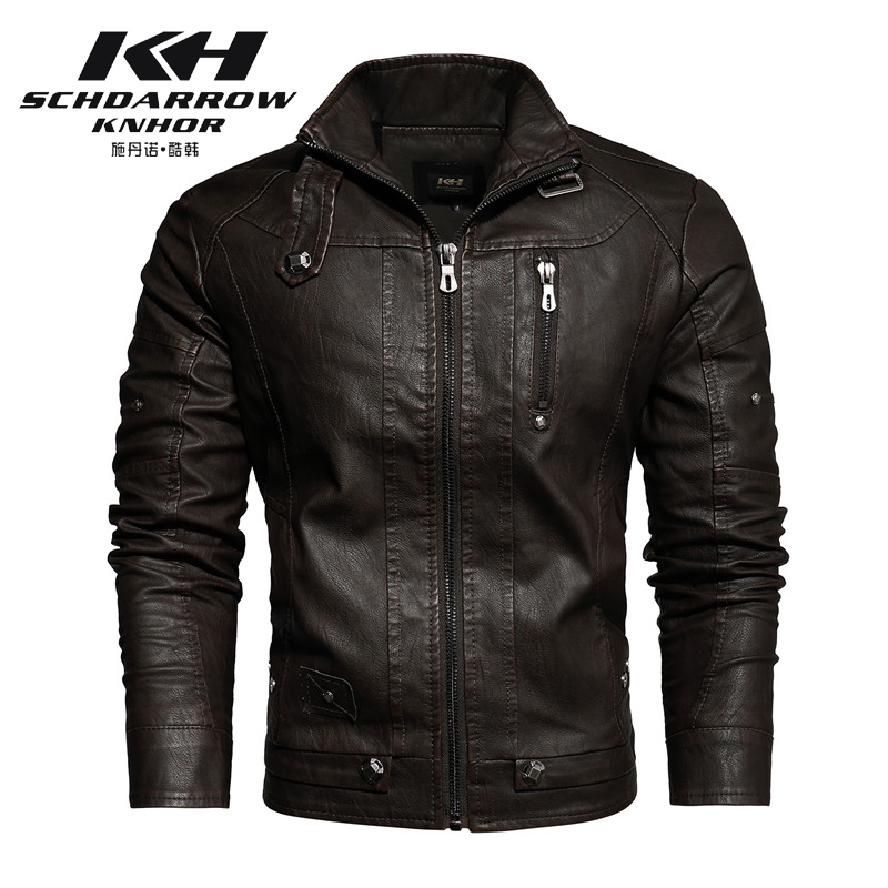 2020 Autumn Winter Men's New Motorcycle Leather Jacket Lining with Velvet Stand Collar Faded leisure Artificial Leather Coat