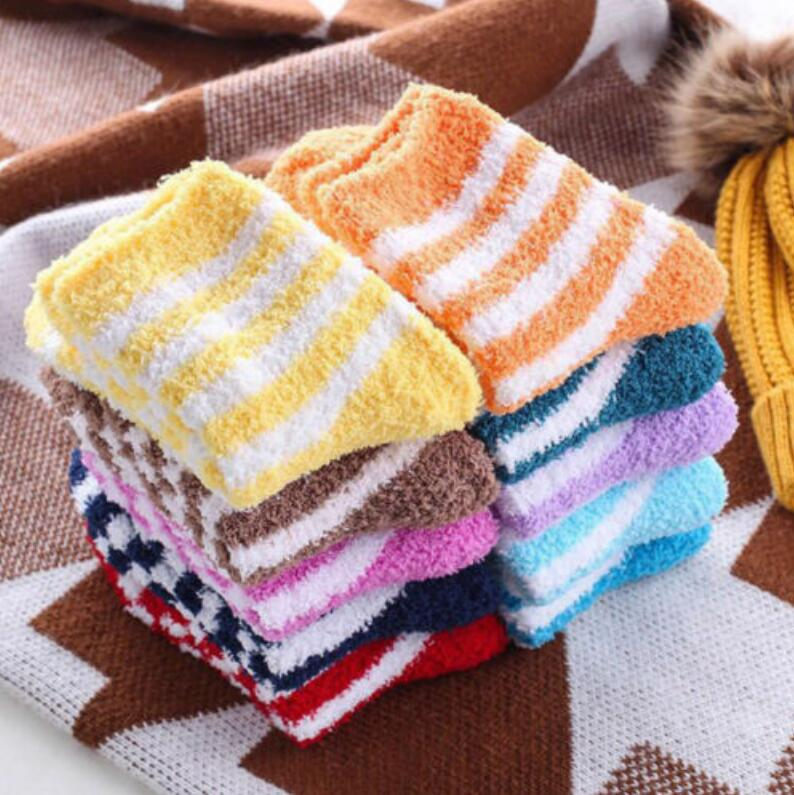 6 Pair/set Winter Warm Women Socks Cozy Striped Fluffy Socks Home Floor Socks Thickening Coral Velvet Socks Christmas Gift