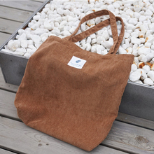 Casual Womens Corduroy Shopping Environmental handbag ladies shoulder bag foldable Reusable canvas Cloth