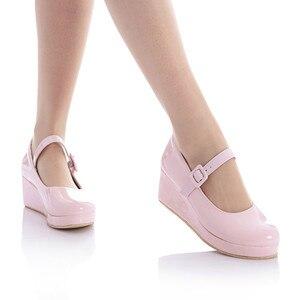 Image 1 - 애니메이션 코스프레 달콤한 로리타 신발 둥근 머리 머핀 뒤꿈치 얕은 입 여성 신발 bowknot kawaii 신발 loli cos