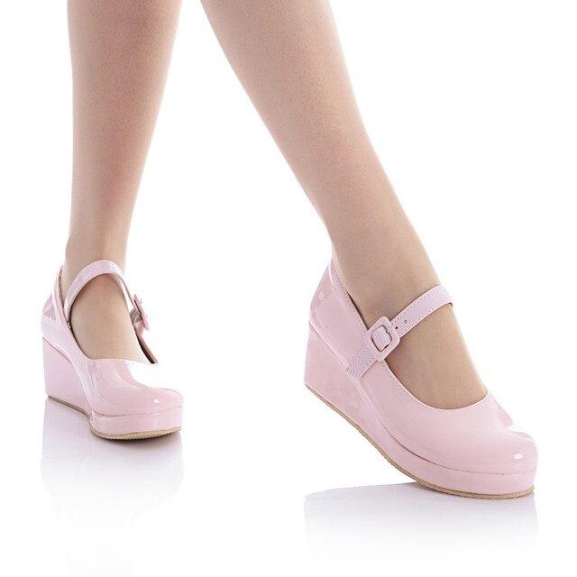 애니메이션 코스프레 달콤한 로리타 신발 둥근 머리 머핀 뒤꿈치 얕은 입 여성 신발 bowknot kawaii 신발 loli cos