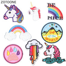 ZOTOONE Unicorn Patch Iron on Transfer for Jackets Hats Embroidery Patches Round Badges for Kids DIY Sewing Clothing Appliques D(China)