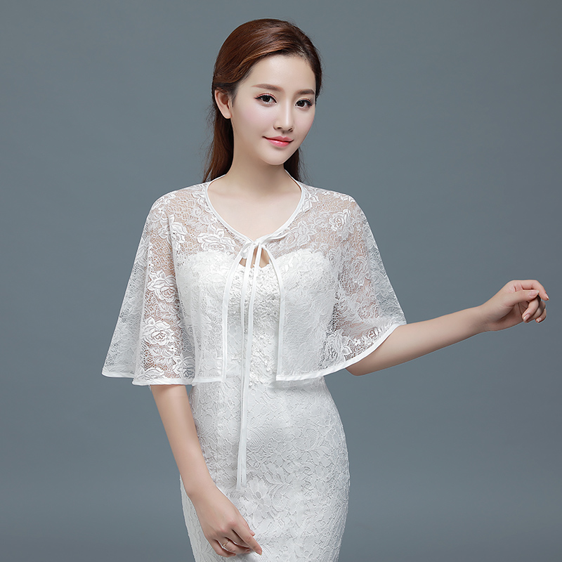 White Lace Bolero Femme Red Cape For Evening Dress Bridal Bolero Mariage 8 Colors Shrug For Women Shawls Wedding Accessories
