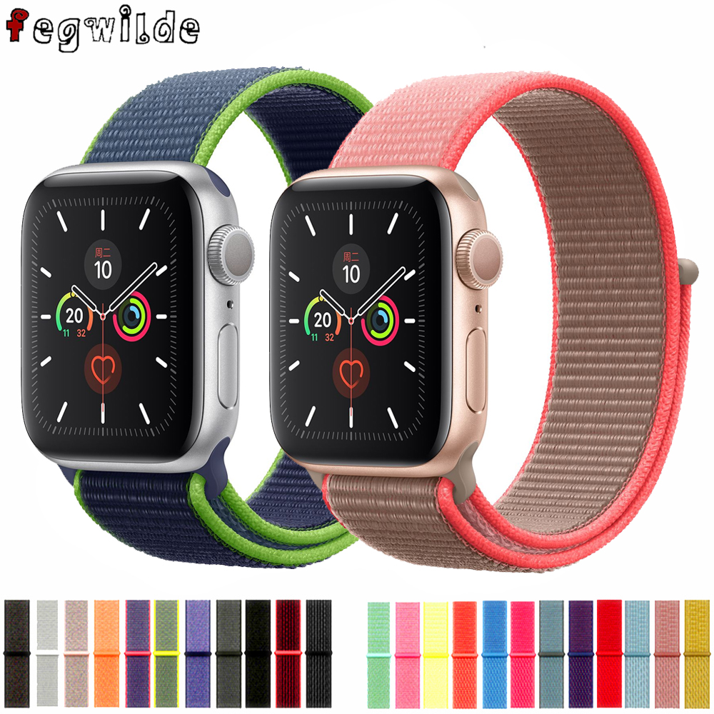 Sport Loop Strap For Apple Watch Band 44 Mm 40mm Iwatch Band 42mm 38mm Nylon Bracelet Watchband Correa Apple Watch 4 5 3 38 Mm
