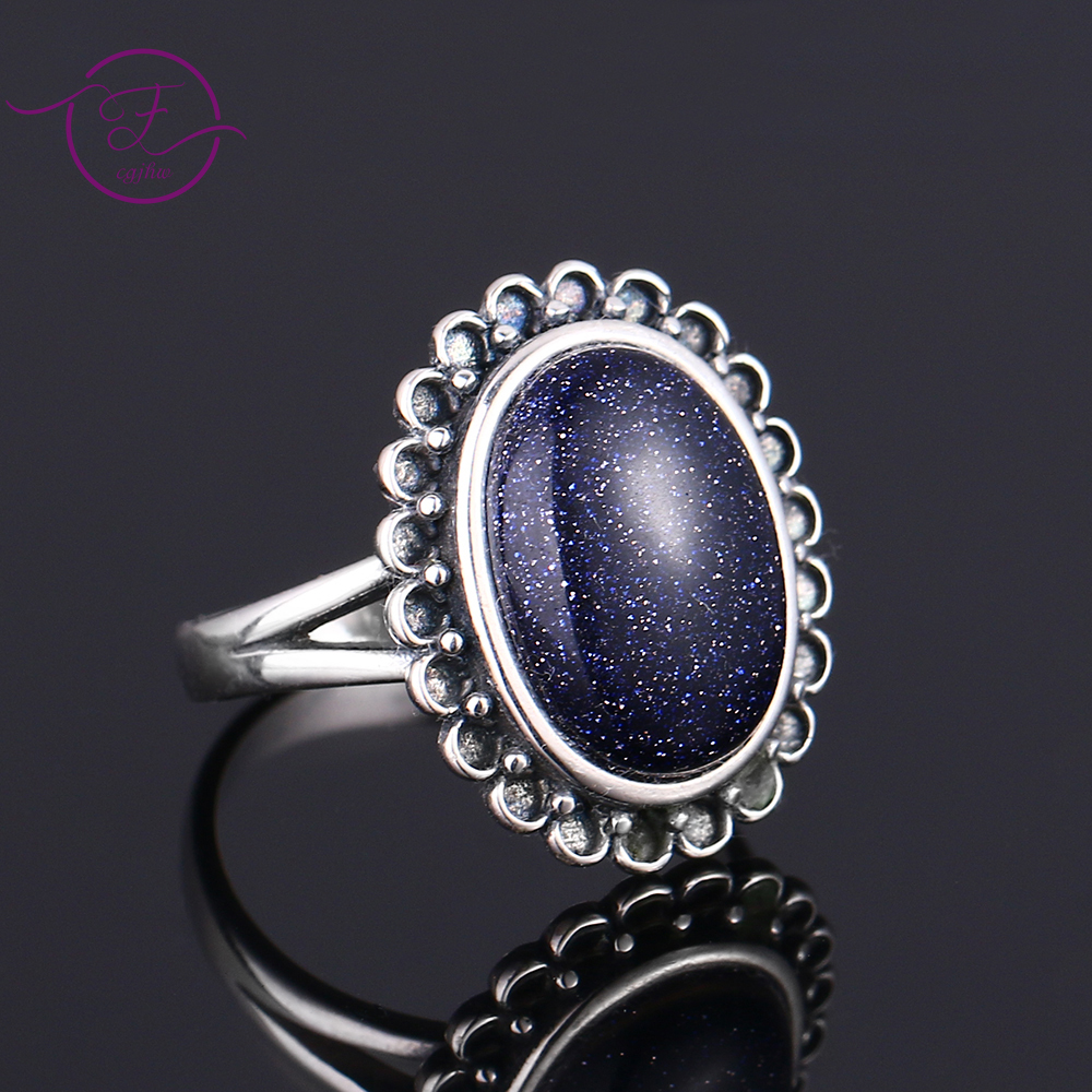 Nasiya Elegant Simple Oval Blue Sandstone Rings Women Girls 925 Sterling Silver Fine Jewelry Anniversary Engagement Party Gift