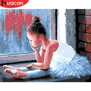 HUACAN Coloring By Numbers Portrait Hand Painted On Canvas DIY Home Decor Adult Handicraft Painting By Numbers Girl Acrylic Gift