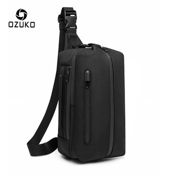 OZUKO Outdoor Sports Men Chest Bag Waterproof Sling Messenger Bags USB Charge Chest Pack for Teenagers Male Travel Crossbody Bag