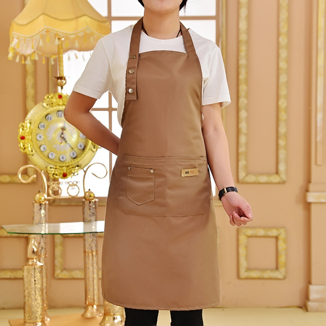 Pure Color Adjustable Shoulder Strap Kitchen Apron Waterproof And Antifouling Bib For Kitchen Baking Barbecue Cooking 5