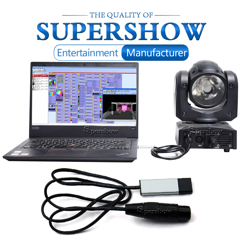 <font><b>USB</b></font> to <font><b>DMX512</b></font> Interface Adapter LED <font><b>DMX512</b></font> Computer PC Stage Lighting Remote Control Cable Freestyler Download image