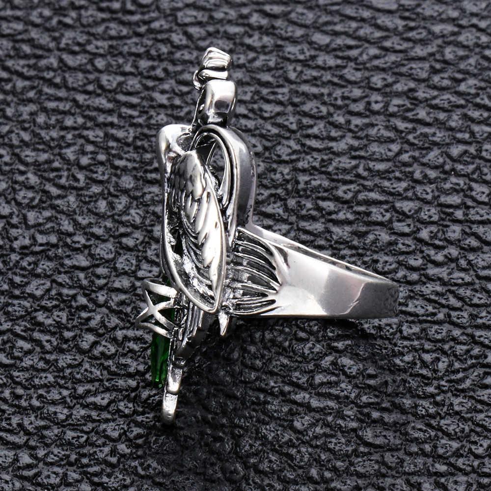 ผู้หญิงขนาด 6-10 Charm 925 เงินย้อนยุค Emerald Zircon แหวนพลอยสีเขียวแหวน Elegant Party เครื่องประดับของขวัญ