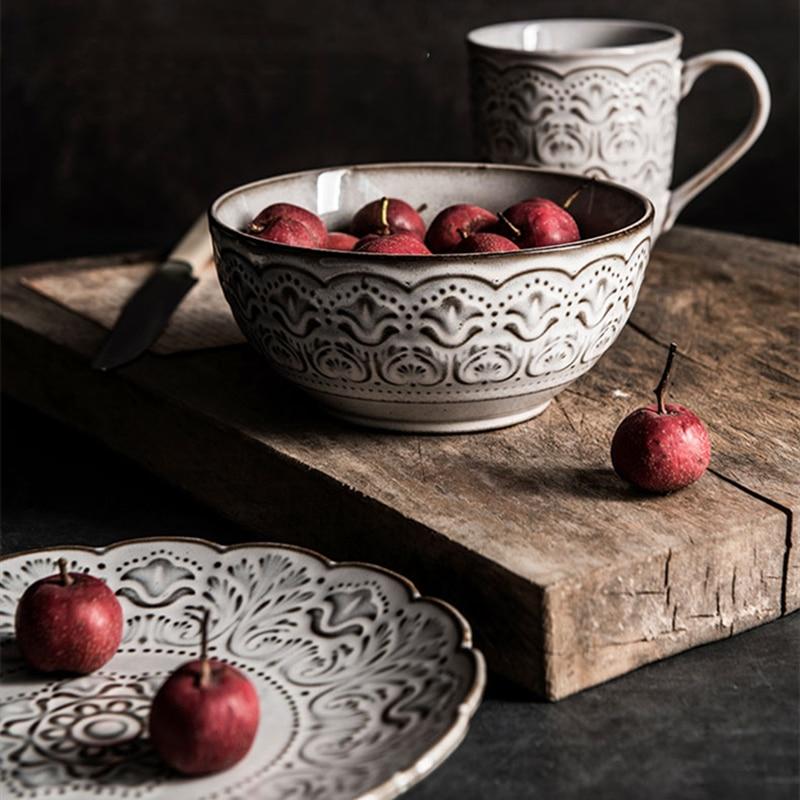 Купить европейская керамическая посуда с белым тиснением комбинированная