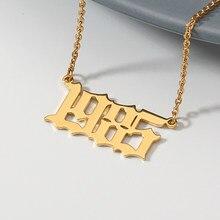 QIMING litera D arabski naszyjnik ze stali nierdzewnej mężczyzna mężczyzn biżuteria Vintage alfabet złoty łańcuszek naszyjnik wisiorek prezent na rocznicę