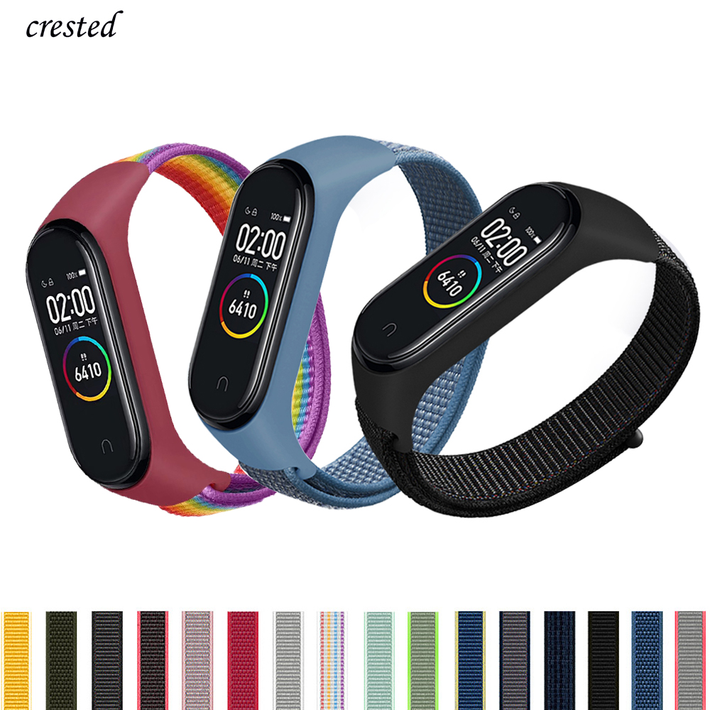 Nylon Bracelet For Xiaomi Mi Band 4 Band Breathable Sports Loop Watchband MiBand4 Band4 Miband 3 Mi Band 4 Strap