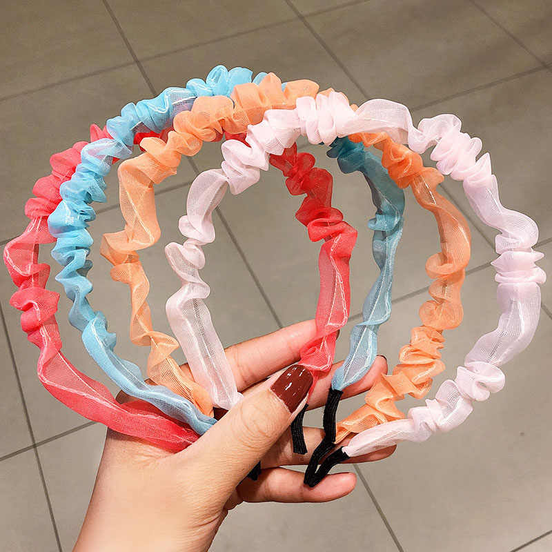 New Ins Fashion Women Girls Colorful Folds Chiffon Simple Metal Hairbands Sweet Hair Holder Headband Headwear  Hair Accessories