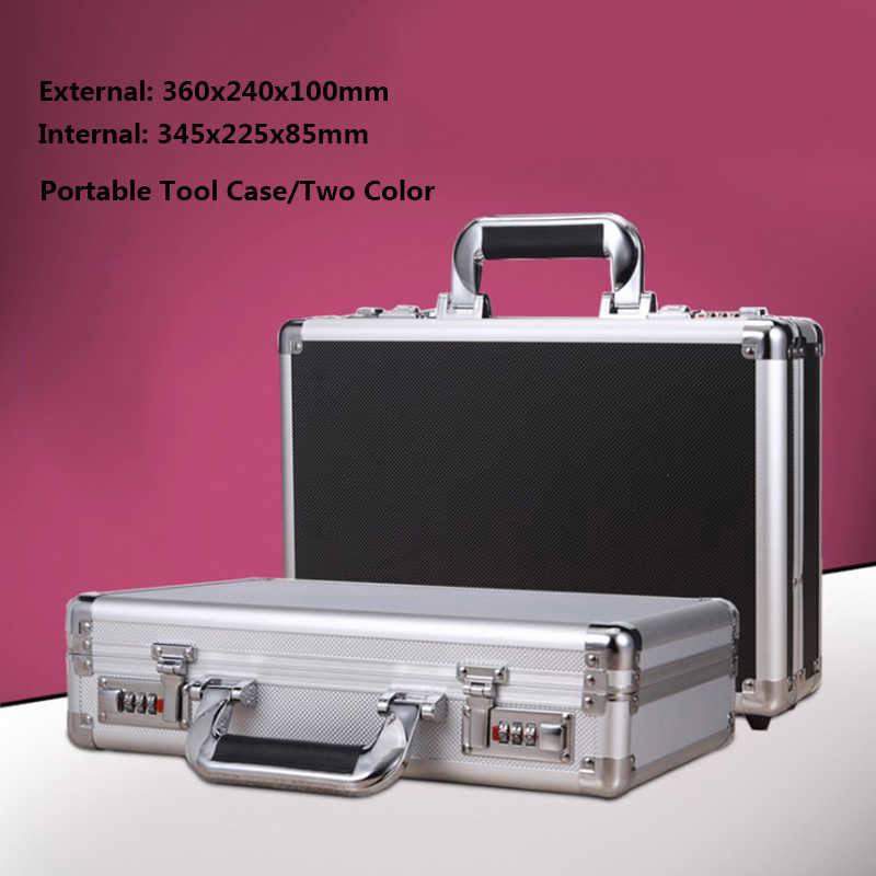 Portable Tool Box Aluminum+Plastic Safety Toolbox File Box Equipment Instrument Case Storage Suitcase with Lining 360x240x100mm