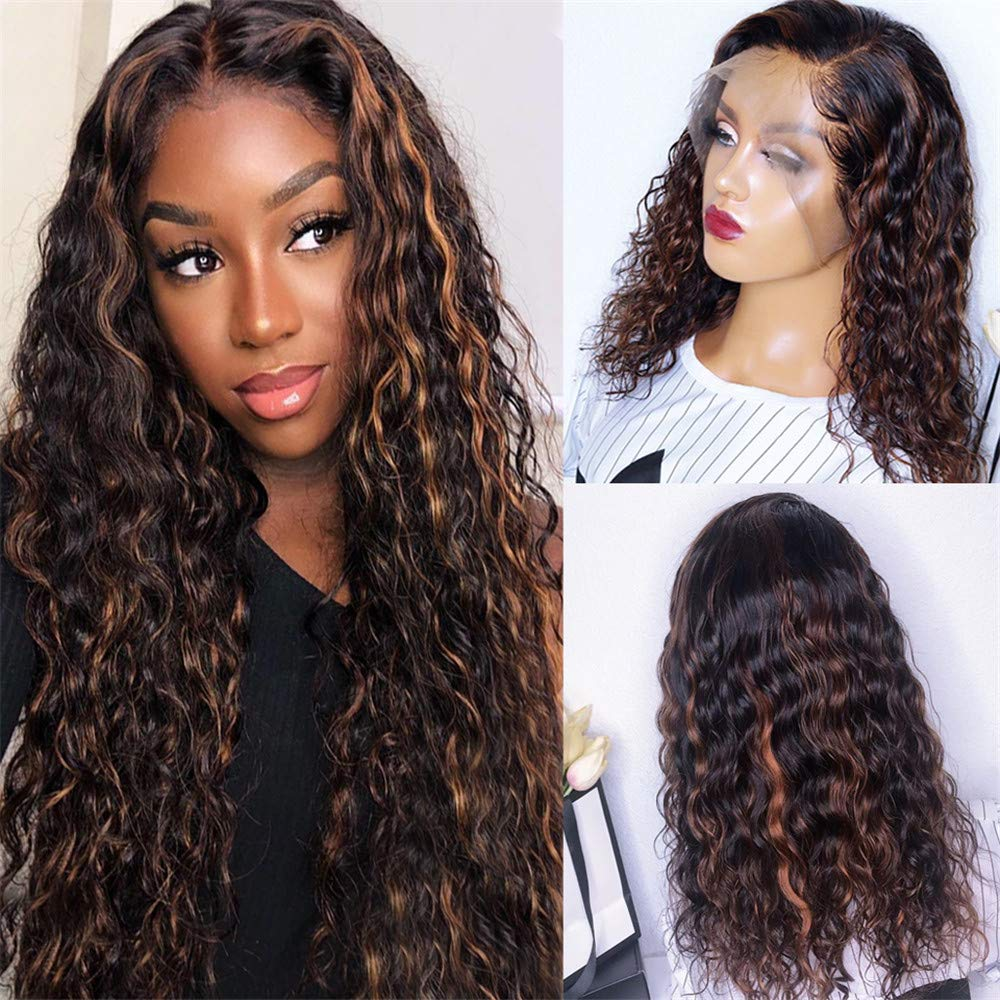 Deep Curly Two Tones 1b/30 Color Human Hair 13*6 Lace Front Wigs 150Density PrePlucked Ombre Blond Brazilian Remy Hair For Women