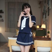 Japanese female student school uniform College wind 2 piece set skirt sailor suit Navy student uniform graduating school uniform
