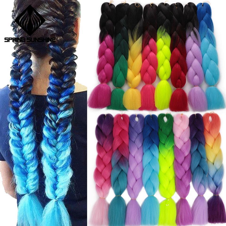 Jumbo Braids Long Ombre Jumbo Synthetic Braiding Hair Crochet Blonde Pink Blue Grey Hair Extensions African Viscera 24inch