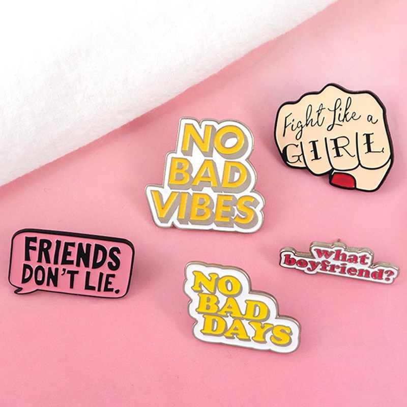 Penawaran Enamel Pin Feminist Girl Power Asing Hal Tidak Ada Getaran Buruk Lencana Bros Kerah Pin Kemeja Jeans Tas Kartun Perhiasan hadiah