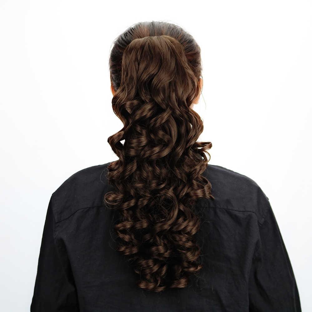 """Gratis Beauty 18 """"pinza de pinza sintética en extensiones de cabello de cola de caballo marrón rizado falso Pony cola extensión lazo envoltura alrededor"""