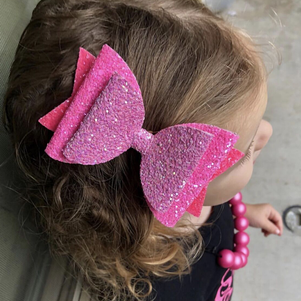 10 Pcs Lot 3 Inches Glitter Hair Bows for Girls Shiny Barrettes Dance Party Hairpins Kids Swallow Tail Hair Clips Hair Accessory in Hair Accessories from Mother Kids