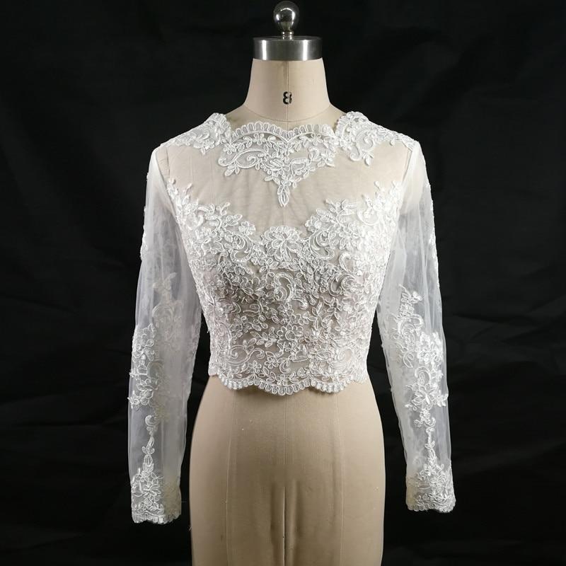 Elegant White Appliques Lace Long Sleeve Cropped Bolero Wedding Top Jacket Bridal Wraps
