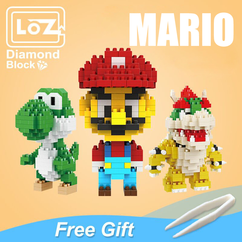 LOZ Mario Bros Toy Figure Model Luigi Mario Yoshi Building Blocks Japanese Game AnimeCreator Toy For Children 9+ Gift Toys