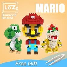 LOZ Mario Bros Toy Figure Model Luigi Mario Yoshi Building Blocks Japanese Game AnimeCreator Toy For