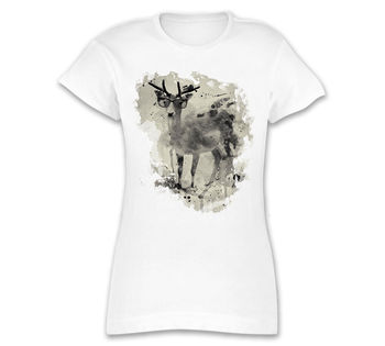 Ladies White T-Shirt Motif Deer with Glasses FROM Caro Art Watercolours Cool Cul image