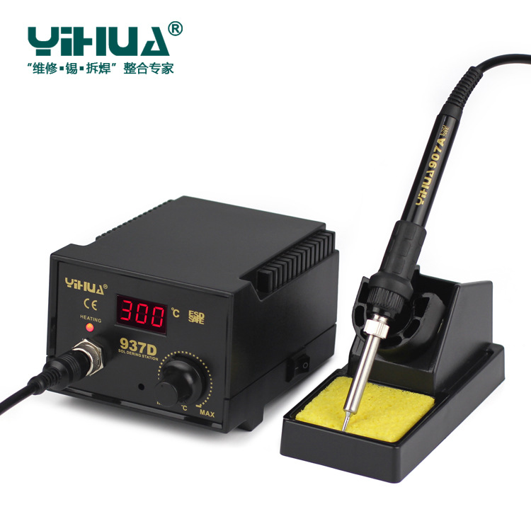 Newest YIHUA  220V 110V EU US 50W Temperature Control ESD Digital Soldering Station   Rework Stations YIHUA 937D with tools
