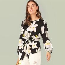 Floral Print Curved Hem Self Belted Blouse Sleeve Elegant Belted 2019 Spring Autumn Round Neck Blouse