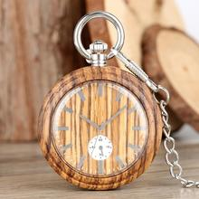 Buy Natural Wooden Fob Watch with Decorative Dials Round Open Face Wood Chain Watch Silver Chain Birthday Gift montre de poche homme directly from merchant!